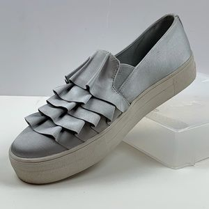 Report AIOLI Ruffle Silver Sateen Fabric Sneakers